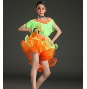 Children girls green orange purple Latin dance dresses kids split tassel latin dance costume professional stage competition clothing