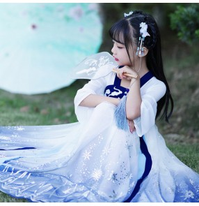 Children girls hanfu anime drama cosplay fairy princess dresses stage performance photos shooting dresses for kids