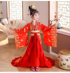 Children girls hanfu chinese tang han dynasty empress film drama cosplay dresses princess fairy stage performance Trailing phoenix costume Tang Dynasty court princess dance hanfu