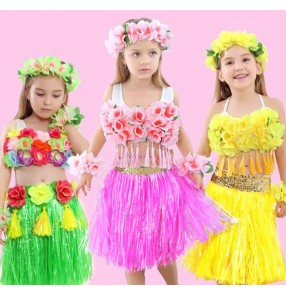 Children girls Hawaiian hula dance skirt kids green yellow pink Hawaiian children's beach hula performance clothing seaweed dance dresses
