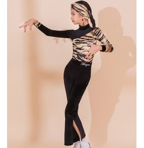 Children Girls leopard printed Latin dance clothing competition latin dance costumes for girls students modern practice dance leotard tops and pants suit