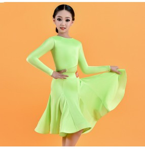 Children Girls neon green professional Latin dance dresses competition latin dance skirts girl children ballroom performance dresses