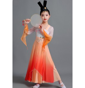 Children girls orange gradient Chinese traditional classical folk dance costumes fairy hanfu cosplay dress Han Tang Dynasty queen empress cosplay dress for kids