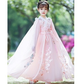 Children girls pink chinese hanfu fairy dress for girl Chinese han tang ancient style Empress cosplay Tang suit Princess cosplay dresses