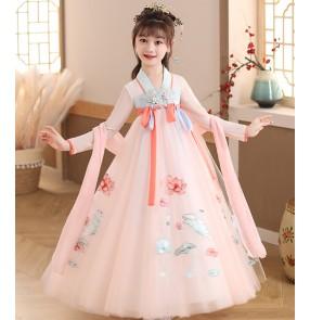Children girls pink Hanfu Girls tang han dyansty drama film cosplay fairy princess dresses Sakura kimono dresses fairy skirt little girl dress Tang suit