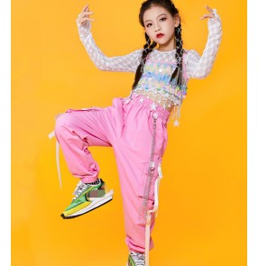 Children girls pink with white sequined  jazz dance costume rapper hiphop gogo dancers outfits girls street dance catwalk costumes kids modern dance clothing
