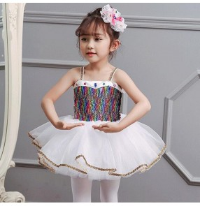 Children girls rainnbow sequins host singers chorus dress white pettiskirt princess skirt kindergarten dance chorus performance dance clothes