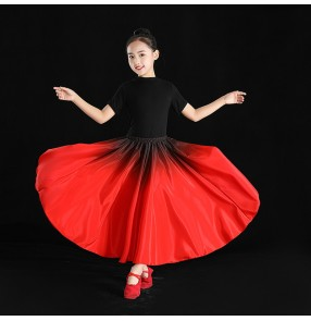 Children Girls red gradient flamenco dance dress party opening dance skirts for girl Xinjiang dance practice skirt  Chinese minority Uyghur Dance swing Skirt