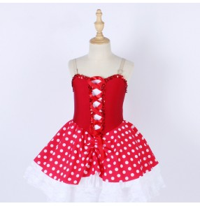 Children girls red polka dot ballet dance dress tutu skirts for girls xmas halloween party ballerina stage performance lace sling dress Stage costumes