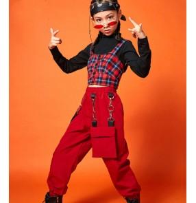 children girls Scottish plaid Rap hip-hop street dance costumes model show photos shooting birthday tide clothes children gogo dancers jazz dance outfits girls