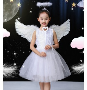 Children girls singer princess fairy with feather wings chorus photos shooting performance dresses little angel performance dress flower girl princess dress
