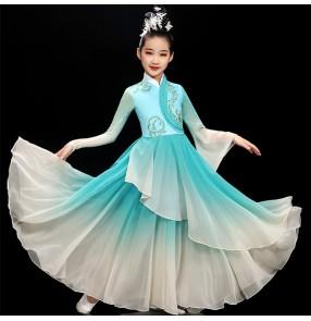 Children Girls turquoise gradient color chinese traditional classical dance costumes Fan umbrella dance dress fairy princess film cosplay hanfu yangko dance costume for Girl