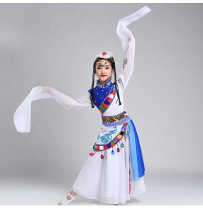 Children Girls waterfall Sleeves mongolian dance dresses Tibetan Performance Costume Ethnic Mongolia Dance Dresses Tibetan Dance Performance robes