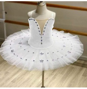 children girls white little swan lake tutu skirt ballet dress ballerina ballet dresses children practice TUTU dance clothes