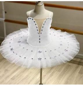 children girls white little swan lake tutu skirt ballet dress ballerina ballet dresses children practice TUTU dance clothes