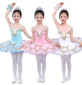 Children Girls white pink blue ballet dance dresses ballerina tutu skirts kids professional little swan lake sling ballet performance costume
