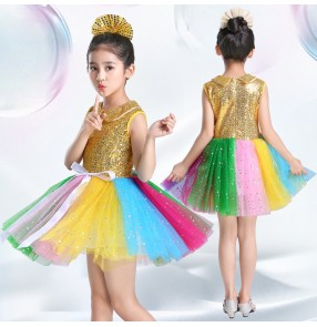 Children gold silver sequins princess dress stage performance choir host singers dress costumes for kids robe de princesse filles