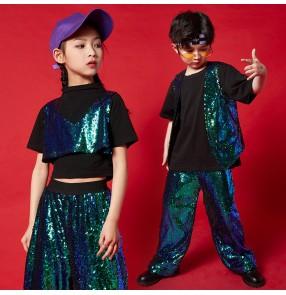 Children Green sequined jazz dance costumes kids gogo dancers rapper performance clothing Boys girls cool trendy modern dance outfits Children hip-hop street dance clothes