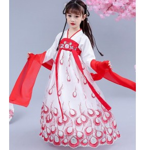 Children hanfu chinese folk dance dress princess fairy anime drama film cosplay dresses for girls