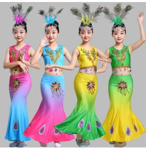 Children Indian Traditional dance Dress Sequins Belly Dance Costume Girls Peacock dance Kids Dai Fish Tail Girl Dance wears