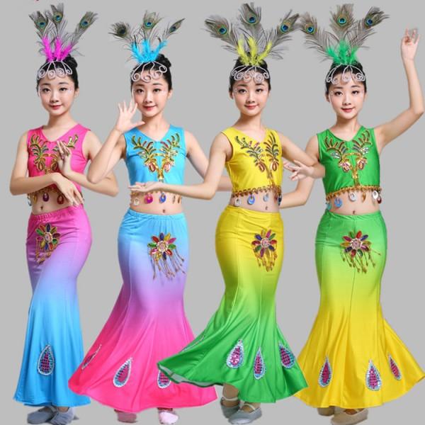 4da18a541808 Children Indian Traditional dance Dress Sequins Belly Dance ...