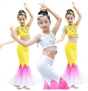 Children Indian Traditional dance Dress Sequins Belly Dance Costume Girls Peacock Kids Dai Fish Tail Leotard Girl Dance wears