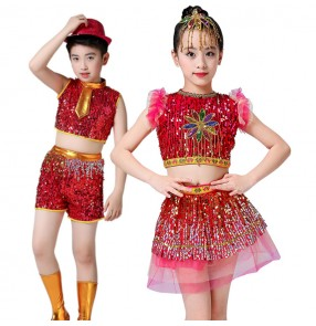 Children jazz dance costumes girls boys drummer school show stage performance modern dance sequin dresses costumes