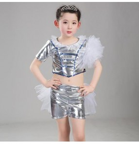 Children jazz dance costumes girls silver gold paillette glitter show hiphop cheerleaders stage performance outfits