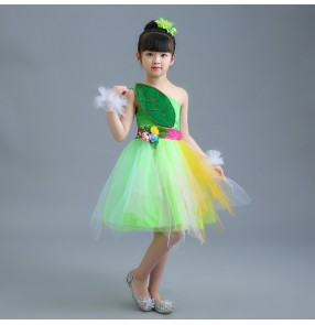 Children jazz dance dresses girls pink green modern dance singer chorus fairy cosplay costumes stage performance competition dancing outfits