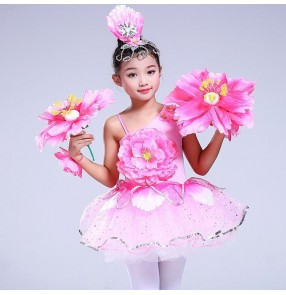 Children jazz dance dresses girls pink petals singers host chorus show stage performance cosplay dresses