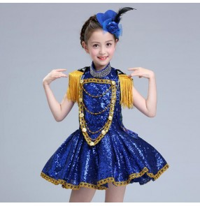 Children jazz dance dresses princess paillette modern dance host  drummer piano gogo dancers model show stage performance competition costumes