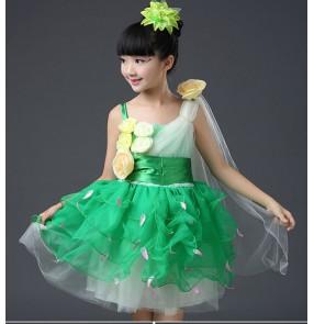 Children Jazz dance princess chorus performance dresses pettiskirt girls modern dance dance jasmine cosplay performance dresses