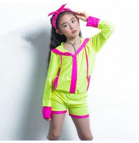Children jazz hiphop dance jumpsuits green colored stage performance modern dance gogo dancers singers dance leotards hoodies bodysuits