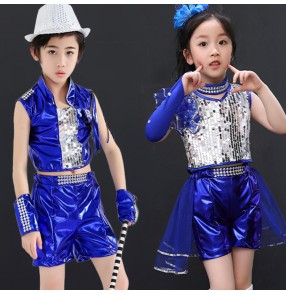Children jazz hiphop street dance costumes royal blue sequin boys girls school show modern dance gogo dancers outfits dresses