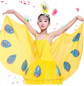 Children jazz modern dance dresses girls yellow butterfly cosplay dresses costumes