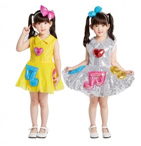 Children jazz singers host performance dresses costumes boys girls modern dance music note sequin princess dresses