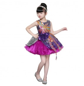 Children jazz singers host princess stage performance dresses modern dance model piano professional cosplay evening party dresses