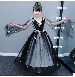 Children kids black lace piano host singers princess dresses birthday party model show performing dresses
