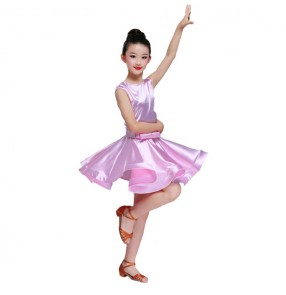 Children kids latin ballroom dance dresses pink gold red black colored competition gymnastics chacha salsa dance skirt