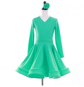 Children kids mint colored competition latin dance dress salsa rumba chacha dance dress costume
