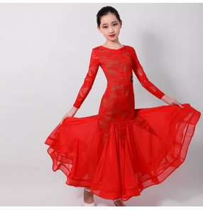 Children kids red black lace ballroom dancing dresses girls children competition stage performance waltz tango dance dresses