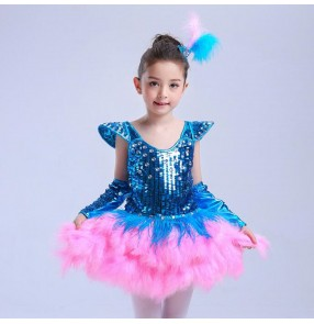 Children kids Sequin turquoise jazz dance hip hop dance costumes princess ballroom dresses dance performance costumes salsa skirt