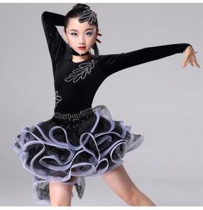 Children latin dance dresses black fuchsia royal blue girls rhinestones competition professional salsa rumba samba dance top and skirts dress
