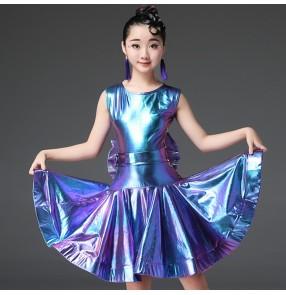 Children latin dance dresses girls kids laser with big bow stage performance modern dance rumba salsa chacha latin dance skirts