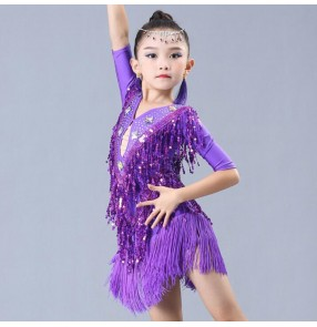 Children latin dance dresses paillette tassels modern dance competition stage performance rumba salsa chacha dancing cosutmes