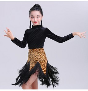 Children latin dancing dresses velvet leopard stage performance rumba samba chacha dancing costumes dancewear clothes