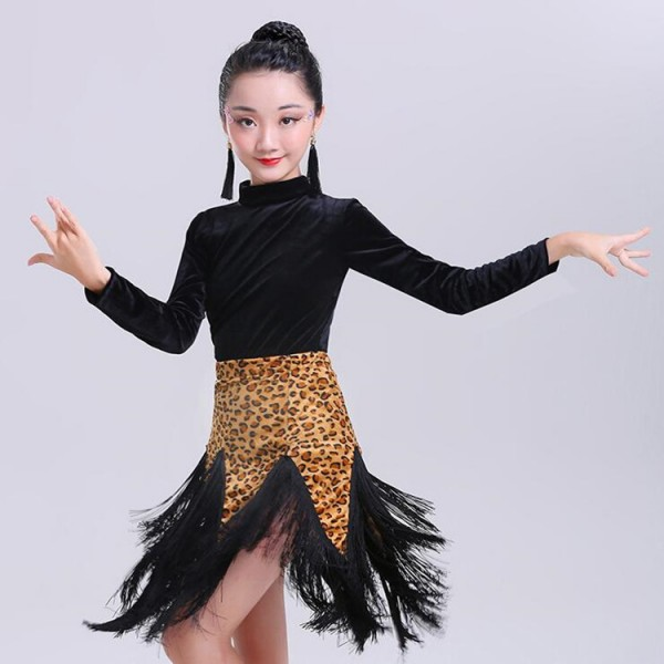 7c24dea93f9 Children latin dancing dresses velvet leopard stage performance rumba samba  chacha dancing costumes dancewear clothes