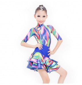Children latin dresses Abito latino per ragazze rainbow colored royal blue competition stage performance rumba salsa chacha dancing skirt dresses