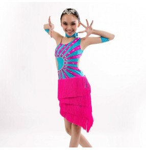 Children latin dresses for girls competition Robes latines enfants rumba salsa chacha samba dancing costumes tassels skirts
