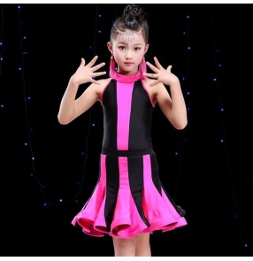 Children latin dresses for girls striped pink blue red stage performance competition rumba chacha salsa competition samba dresses